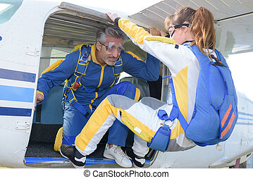 skydiver ready to jump