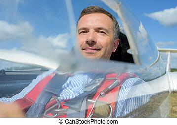 in a glider cockpit