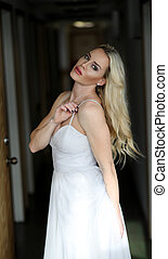 Beautiful Blond Woman with Green Eyes - Photo of a very...