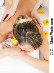 Wellness Massage - Beautiful woman having a wellness back...