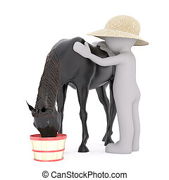 One 3D rendered figure pets his black horse as it eats from...