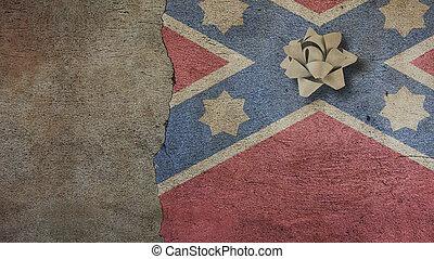Robert E Lee Day. Flag on a Wall and Ribbon - Robert E Lee...