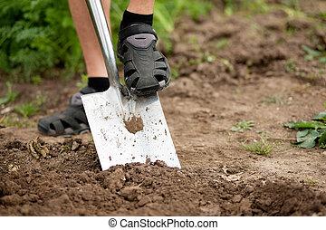 Gardening - man digging over the soil - gardener - only feet...