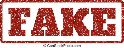 Fake Rubber Stamp - Dark Red rubber seal stamp with Fake...