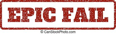 Epic Fail Rubber Stamp - Dark Red rubber seal stamp with...