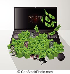 Laptop and dollars pile of poker chip winnings