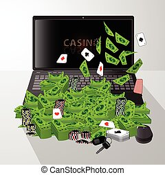 laptop and pile of dollars casino chips  cards