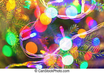 background of inside decorated Christmas fir tree with...