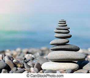 Stack of stones on the sea beach - Stack of stones on the...