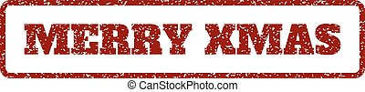 Merry Xmas Rubber Stamp - Dark Red rubber seal stamp with...