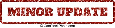 Minor Update Rubber Stamp - Dark Red rubber seal stamp with...