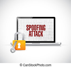 spoofing attack computer lock concept illustration design...