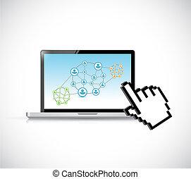 supply chain management computer concept illustration design...