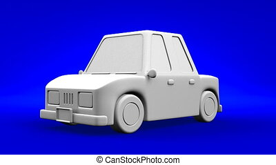 Car On Blue Background.