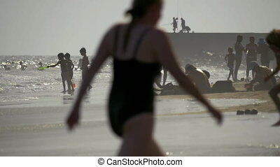 People having enjoyable day on the beach - GRAN CANARIA,...