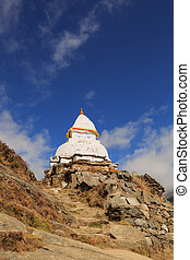 stupa on the way to everest base camp,nepal