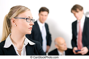 Mobbing - Businesswoman being excluded