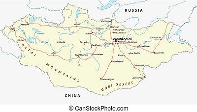 mongolia road map - mongolia road vector map