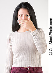 Woman With Bad Breath - Female covering her mouth with her...
