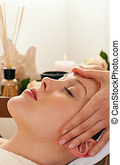 Face Massage with Spa background