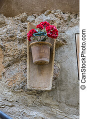 Pots hanging on the wall with flowers in the city of Valldemosa in the Balearic Islands Spain