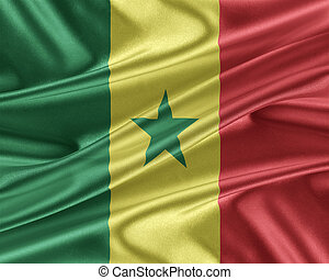 Senegal flag with a glossy silk texture. - Senegal flag....
