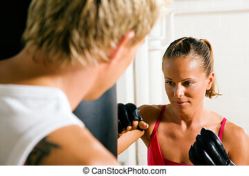 Martial Arts Couple - Boxing couple male female, trainer...