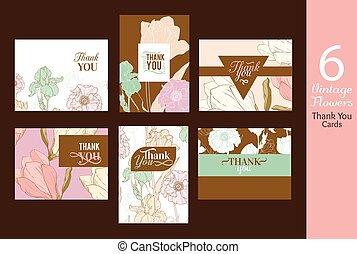 Six Unique Vector Vintage Floral Wedding Thank You Cards Set with text, repeat pattern backgrounds perfect for any event.