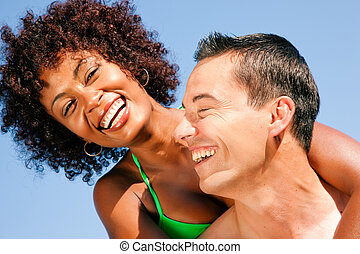 Couple - hugging each other on beach - Couple in love -...