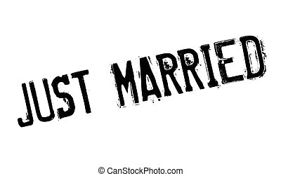Just Married rubber stamp. Grunge design with dust...