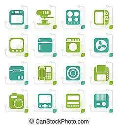 Stylized Home and Office, Equipment Icons - Vector Icon Set