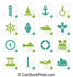 Stylized Simple Marine, Sailing and Sea Icons - Vector Icon...