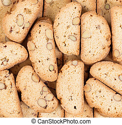 Filled frame of baked cookies for food background - Close up...