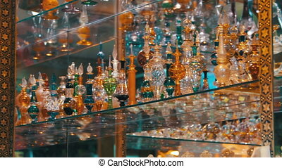 Bottles of Essential Oils used in Perfume Making Displayed...