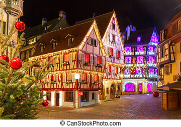 Christmas street at night in Colmar, Belgium - Traditional...