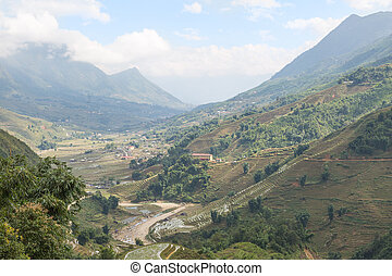 Sapa valley in Vietnam - Landscape of Sapa valley in Vietnam