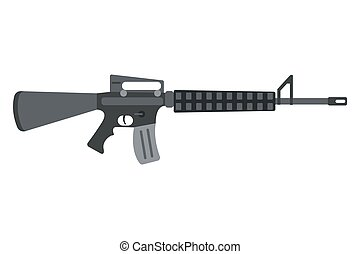 assault rifle icon. - Vector assault rifle heavy weapon...