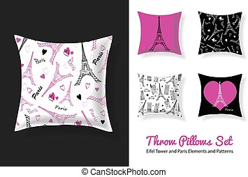 Set Of Vector Throw Pillows In Matching Unique Eifel Tower,...