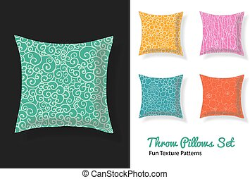 Set Of Throw Pillows In Matching Unique Natural Doodle Seamless Patterns. Square Shape. Editable Vector Template.