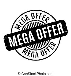 Mega Offer rubber stamp. Grunge design with dust scratches....