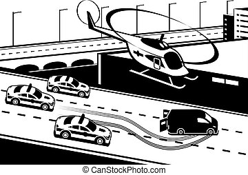 Police patrol chasing criminal - vector illustration