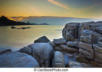 logh exposure photography of rock beach mae rumpung rayong...