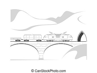 Train, bridge and mountains. Vector illustration.