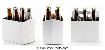 cerveza, Seis, botellas, cartón, portador