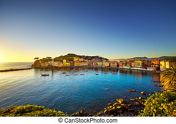 Sestri Levante, silence bay sea harbor and beach view on sunset. Liguria, Italy