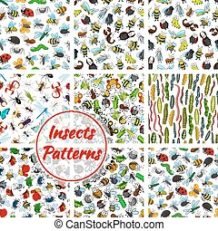 Cartoon insects and bugs seamless pattern - Insects and bugs...