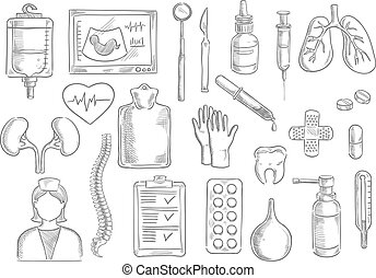 Medical vector sketch isolated icons