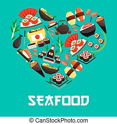 Seafood Japanese cuisine heart vector poster - Seafood in...
