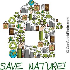 Save Nature ecology environment protection label