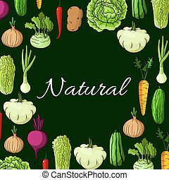 Healthy natural vegetables vector poster - Veggies poster of...